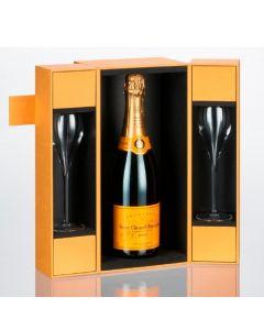 Veuve Clicquot Brut 75cl Coffret 2 Champagne Flutes