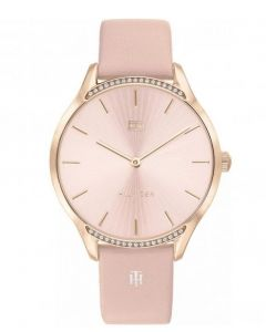 Tommy Hilfiger Gray Watch with Pink Dial, Crystals and Pink Leather Strap