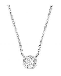 Ti Sento Necklace With A Lovely Sparklin White Zirconia Centrepiece