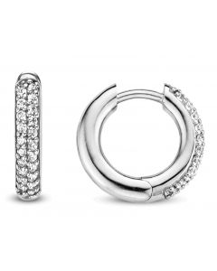 Ti Sento Earrings With Two Rows Of Brilliant, Neatly-Cut Cubic Zirconias