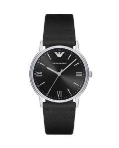 Emporio Armani Kappa  Mens Watch with Black Leather Strap