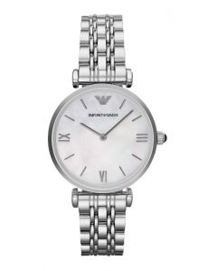 Emporio Armani Ladies Mother of Pearl Dial Watch with Stainless Steel Bracelet