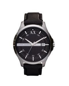 Armani Exchange Mens Watch with Black Leather Strap