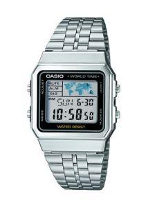 Casio Silver A500 Digital World Time Watch