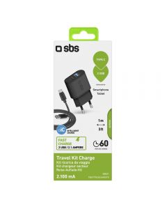 SBS Mobile USB Home Charger 2-Ports + Type-c USB Cable