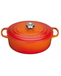 Le Creuset Roaster Signature With Cast Iron Cover , Oval ,27cm , Volcanic
