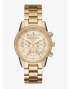 MK Ritz Pave Gold Tone Watch