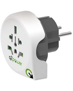 Q2power Earthed travel adapter – World to Europe