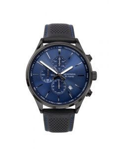 Sekonda Men's Black Leather Watch with Blue Face