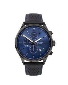 Sekonda Men's Black Leather Watch with Blue Face