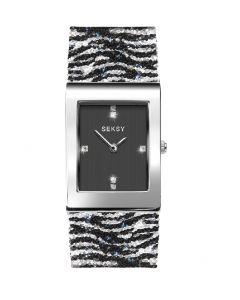 Seksy Rocks Zebra Print Bracelet Watch