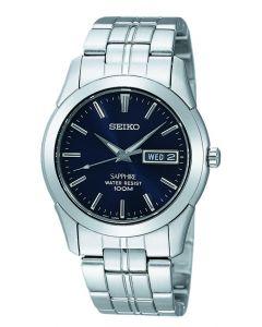 Seiko Quartz Men's Watch w/ Steel Strap & Blue Dial