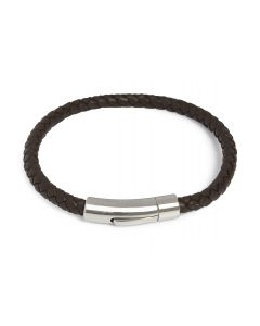 Simon Carter Brown Leather Bracelet with logo clasp