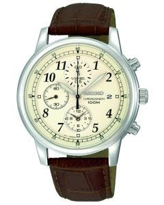 Seiko Men's Watch steel with leather band Quartz Chronograph