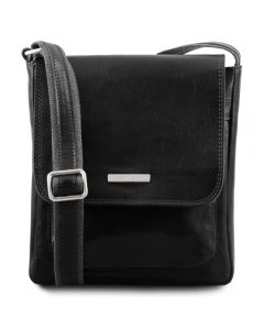 Tuscany Leather Jimmy - Leather crossbody bag for men with front pocket - Black