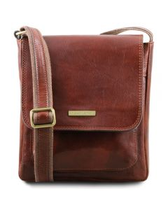 Tuscany Leather Jimmy - Leather crossbody bag for men with front pocket - Brown