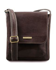 Tuscany Leather Jimmy - Leather crossbody bag for men with front pocket - Dark Brown