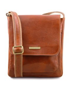 Tuscany Leather Jimmy - Leather crossbody bag for men with front pocket - Honey