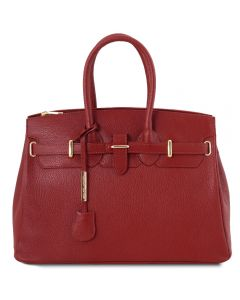Tuscany Leather Bag with Golden Hardware Red