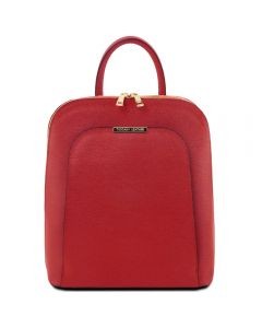 Tuscany Leather TL Bag - Saffiano leather backpack for women - Red