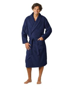Twentse Damast Terry Bathrobe Dark Blue