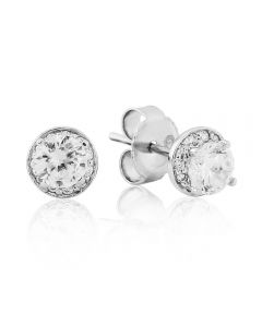 Waterford Crystal Elegance Sterling Silver Small Cluster Round Stud Earrings